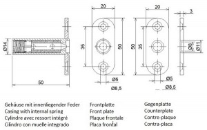 Thermal bolting for fire doors - dimensions
