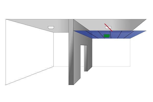 Ceiling detector on suspended ceiling
