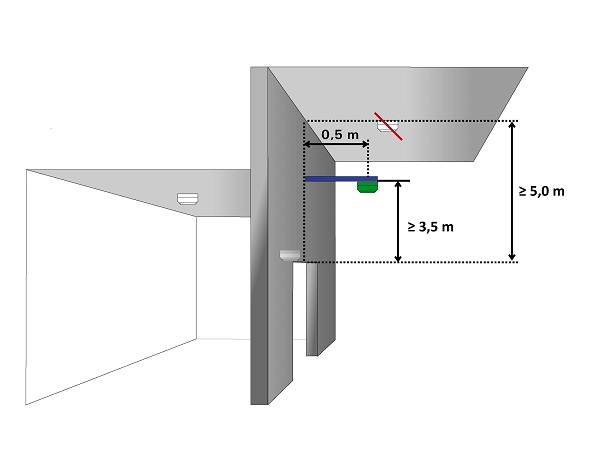 Hold-open system - ceiling detector on cantilever arm