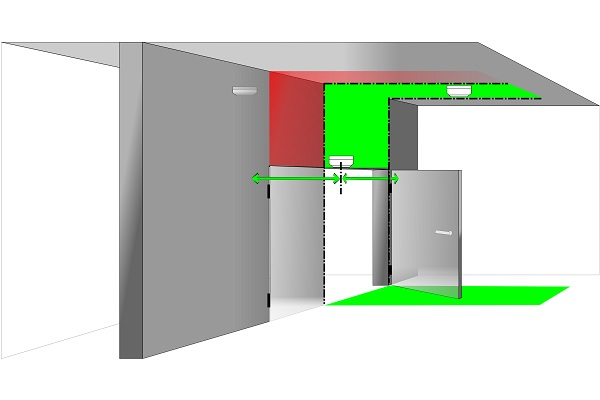 Smoke detector on double doors