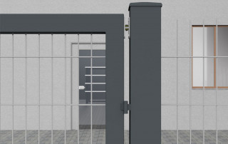 Tube door closer RTS on gate - detail view