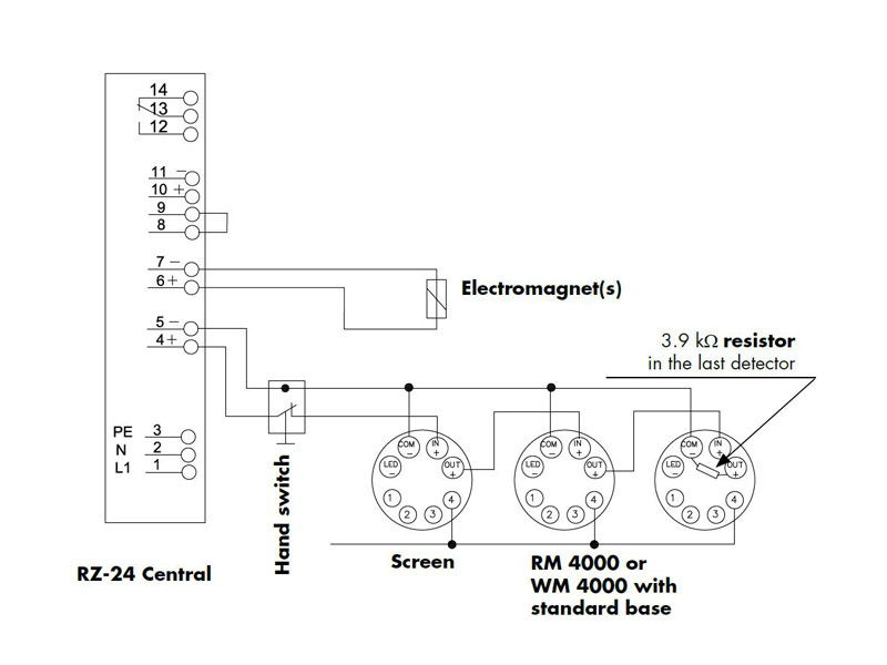 smoke detector wire diagram smoke detector rm 4000 hold open systems fire door control  smoke detector rm 4000 hold open