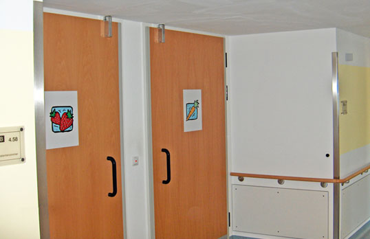 Door dampers on hospital doors