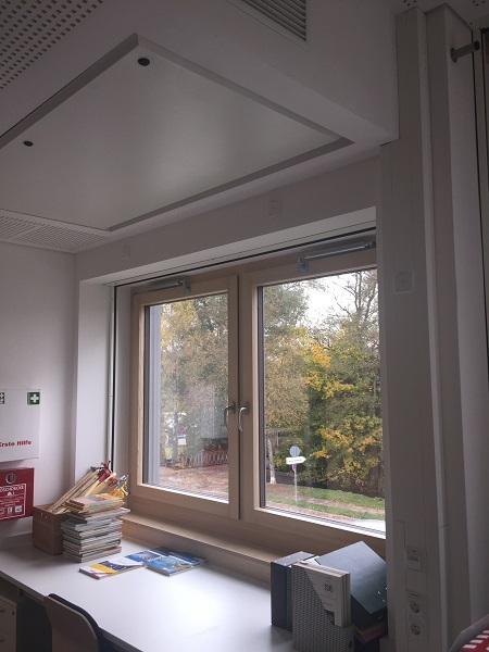 Prep room with back check on double-leaf window