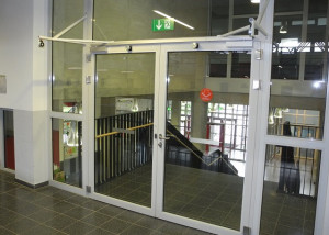 Double fire doors with DICTATOR electromagnets