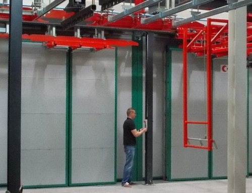 DICTAMAT MultiMove door operator on double-leaf sliding doors of drying furnaces